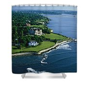 Aerial Of The Breakers, A Mansion Built Shower Curtain