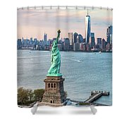 Aerial Of The Statue Of Liberty At Sunset, New York, Usa Shower Curtain