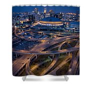 Aerial Of The Superdome In The Downtown Shower Curtain