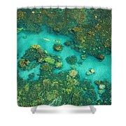 Aerial Of Two Kayakers Shower Curtain