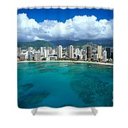 Aerial Of Waikiki Shower Curtain
