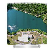 Aerial Over Blue Stone Quarry In North Carolina Shower Curtain