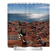 Aerial Panorama Of Piran Slovenia On Adriatic Sea With Marina An Shower Curtain