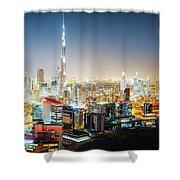 Aerial Panorama View Of Dubai By Night Shower Curtain