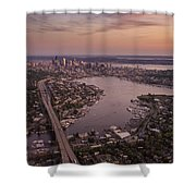 Aerial Seattle View Along Interstate 5 Shower Curtain