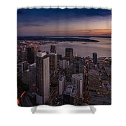 Aerial Seattle Westward View Shower Curtain