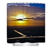 Aerial Sunset Over Canal Shower Curtain