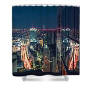 Aerial View Cityscape At Night In Tokyo Japan From A Skyscraper Shower Curtain