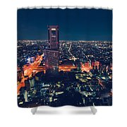Aerial View Cityscape At Night In Tokyo Japan Shower Curtain