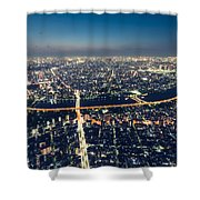 Aerial View Cityscape At Night Shower Curtain