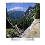 Aerial View From The Top Of The Upper Yosemite Fall Shower Curtain
