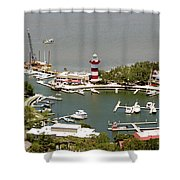 Aerial View Harbour Town Lighthouse In Hilton Head Island Shower Curtain