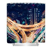 Aerial-view Highway Junction At Night In Tokyo Japan Shower Curtain