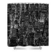Aerial View Midtown Manhattan Nyc Bw Shower Curtain