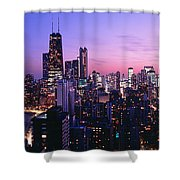 Aerial View Of A City At The Lakeside Shower Curtain