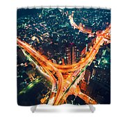 Aerial View Of A Massive Highway Intersection In Tokyo Shower Curtain