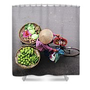 Aerial View Of A Vietnamese Traditional Seller On The Bicycle With Bags Full Of Vegetables Shower Curtain