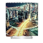 Aerial View Of Dubai's Business Bay At Night. Shower Curtain