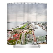 Aerial View Of Famous Havenwelten In Bremerhaven Shower Curtain