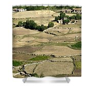 Aerial View Of Green Ladakh Agricultural  Landscape Shower Curtain