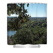 Aerial View Of Large Forest And Lake Shower Curtain