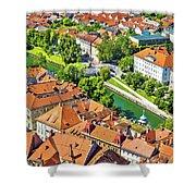 Aerial View Of Ljubljana Green River Shower Curtain