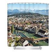 Aerial View Of Lucerne In Switzerland.  Shower Curtain