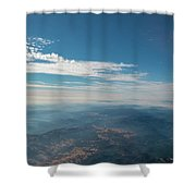 Aerial View Of Mountain Formation With Low Clouds During Daytime Shower Curtain