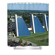 Aerial View Of Office Buildings Shower Curtain