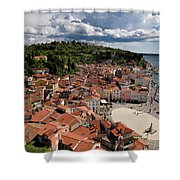 Aerial View Of Piran Slovenia On The Adriatic Sea Coast With Har Shower Curtain