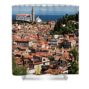 Aerial View Of Piran Slovenia With St George's Cathedral On The  Shower Curtain