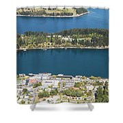 Aerial View Of Queenstown In New Zealand Shower Curtain