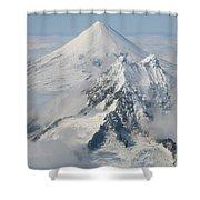 Aerial View Of Shishaldin Volcano Shower Curtain by Richard Roscoe