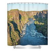 Aerial View Of Sunlit Rapids In Canyon Shower Curtain