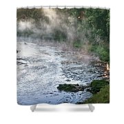 Aerial View Of The Dawn Over The River In The Fog Shower Curtain