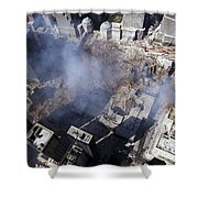 Aerial View Of The Destruction Where Shower Curtain by Stocktrek Images