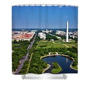 Aerial View Of The National Mall And Washington Monument Shower Curtain
