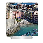 Aerial View Of Vernazza, Cinque Terre, Liguria, Italy Shower Curtain