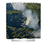 Aerial View Of Victoria Falls With Bridge Shower Curtain