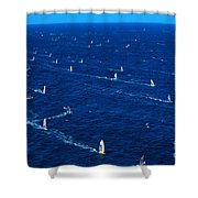 Aerial View Of Windsurfer Shower Curtain