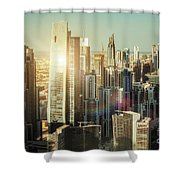 Aerial View Over Dubai's Towers At Sunset.  Shower Curtain