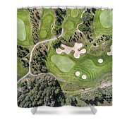 Aerial View Over Golf Field In Poland. Summer Time. Shower Curtain