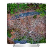 Aerial View Over Wooded Forest And Road Shower Curtain