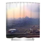 Aerial View - Philadelphia's Stadiums With Cityscape  Shower Curtain