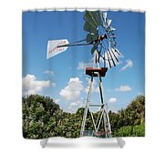 Aeromotor Windmill Shower Curtain