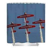 Aeroshell Aerobatic Team Shower Curtain by Susan Rissi Tregoning