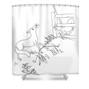 Aesop: Fox And Rooster Shower Curtain