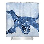 Afghan Hound-blue Shower Curtain