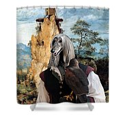 Afghan Hound-falconer And Windmill Canvas Fine Art Print Shower Curtain