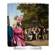 Afghan Hound-politicians In The Tuileries Gardens  Canvas Fine Art Print Shower Curtain